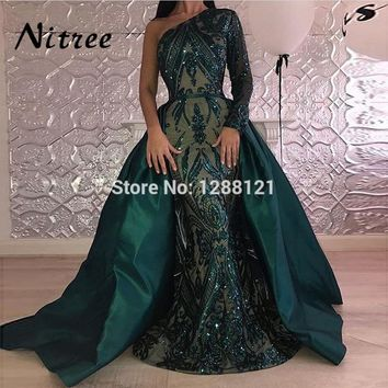 Muslim One Shoulder Mermaid Evening Dresses Turkish Arabic Aibye 2018 African Formal Prom Dress Moroccan Kaftans Glitter Gowns