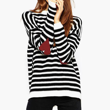 Striped Heart Patch Elbow Sweater with Slit