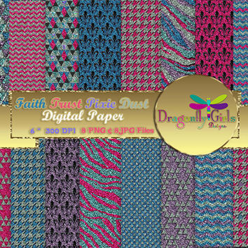 80% OFF Sale Pixie Dust,  digital paper, commercial use, scrapbook papers, background, Glitter Pink Purple Blue