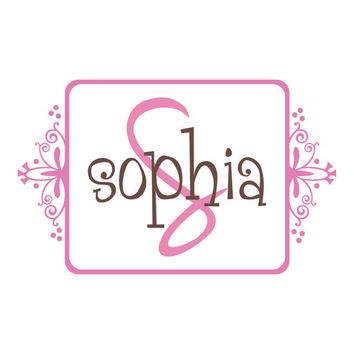 Personalized Name and Initial Wall Decal - Whimsical Frame Monogram Baby Girl Boy Nursery Teen Girls Room Vinyl Wall Art 22H x 36W CN014