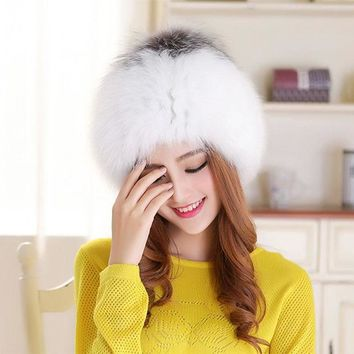 LMF9GW Real Fox Fur Hats Women Cap Natural Fox Fur Balls Casual Hats Fashion Earmuffs Knitted Beanies Solid Adult Women Popular Hats