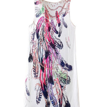 White Feathers Print Sleeveless Shirt