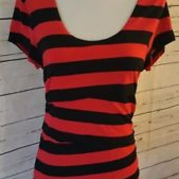 Vince Camuto Womens Sz M Medium Top Blouse Red Black Striped Cross Over Layers