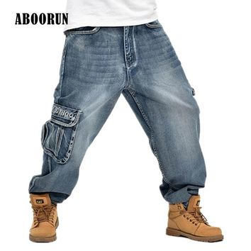 ABOORUN 2016 Hip Hop Mens Baggy Jeans Cargo Jeans with Multi Pockets P3071