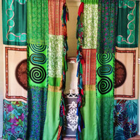 Boho Curtains Hippie Drapes panels Hippy Boho Gypsy paisley vtg 70s green scarves Wall Decor bohemian Bedroom Backdrop photo chic