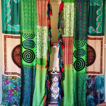 Boho Curtains Panels Patchwork Drapes from HippieWild on Etsy