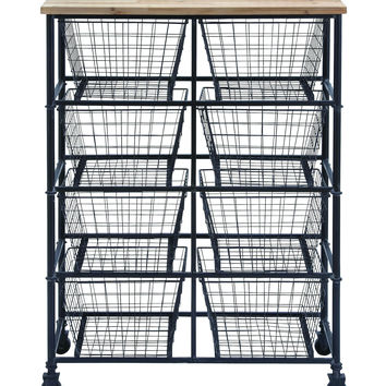 Metal Wood Storage Mobile Cart With 41In H, 29