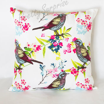 Colorful Bird Decorative Pillow,Floral Cushion Cover,Throw Cover, Handmade Pillow Cover, Home Decor Pillow, Home Decor Cushion, Boho Pillow