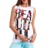 FLORAL GRAPHIC MUSCLE TEE