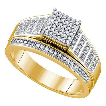 10kt Yellow Gold Women's Round Diamond Rectangle Cluster Bridal Wedding Engagement Ring 1/4 Cttw - FREE Shipping (US/CAN)
