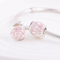 GW Pink Rose Charms beads made from 925 sterling silver fit pandora style bracelets for wo real jewelry No70 lw D025