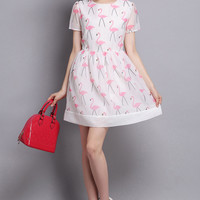 A-Line Flamingo Print Skater Dress