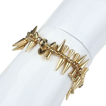 Women's Renegade Crystal Cluster Spike Stretch Bracelet Rivet GD