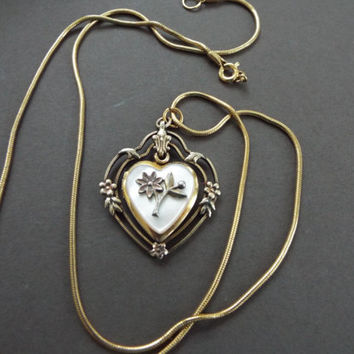 """victorian gold filled  mother of pearl swivel heart locket  necklace 22"""" chain"""