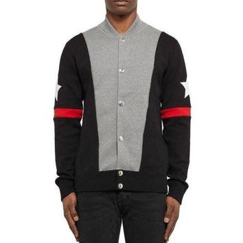 DCCKJN6 Givenchy black red star men's baseball jacket sweater