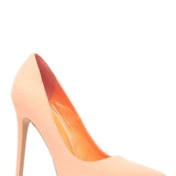 Peach Faux Nubuck Pointy Toe Classic Pumps