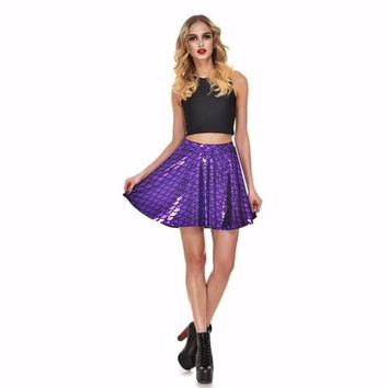 Purple Mermaid Print Skater Skirt