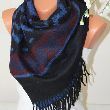 Blue Aztec Scarf-tribal scarf-scarves-blanket scarf-Plaid scarf-Winter Fashion-Fashion scarf-Scarves-Mother Days gift-Gift ideas-Gift