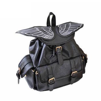 2017 Cute Wing Backpack Women's Backpacks for Teenage Girls Fashion Trendy School Rucksack Personality PU Mochilas 914