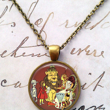 Wizard of Oz Necklace, Flying Monkeys, Wicked Witch, Ruby Slippers, Dorothy, Steampunk, Literary Quotes, Oz T1180