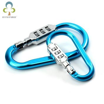 D type Portable Outdoor Mountaineering Hanging Buckle Small Lock Multifunctional Suitcase Padlock Luggage Lock WYQ