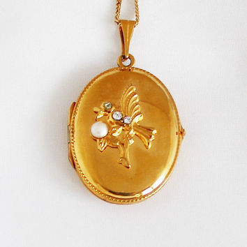 1940s Art Nouveau German Bird Charm Locket Vintage Medallion Portrait Photo