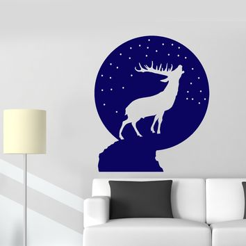 Vinyl Wall Decal Christmas Snow Ball Deer Silhouette Stickers (2133ig)