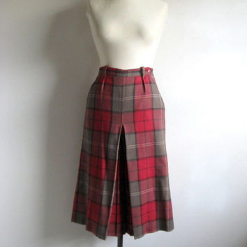 Vintage 1980s Culotte Pants ALFRED SUNG Red Plaid Petite Wool Shorts  8