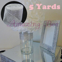 5 Yards 24 Rows Wedding Table Candle Napkins Decoration Silver Plastic Rhinestone Mesh Trim Wrap Roll Ribbon (Size: 4.57 m, Color: Silver) = 1932461316