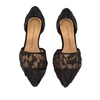 Black Pointy Lace Flats
