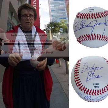 Billie Jean King Autographed Rawlings ROLB1 Baseball with LA Dodgers Inscription, Tennis Hall of Fame, Proof Photo
