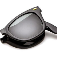 Folding Wayfarers w/ Case Sunglasses (Black)