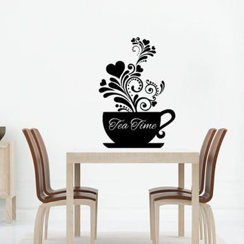 Cup Wall Decal Vinyl Sticker Decals Tea Time Cafe Pattern Heart Kitchen Decor Dining Room Interior Murals Window Decal AN742