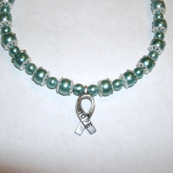 "Teal Cancer Awareness Bracelet: Teal glass pearl beads with silver ""hope"" ribbon,  choice of closure, custom  size, other colors available"