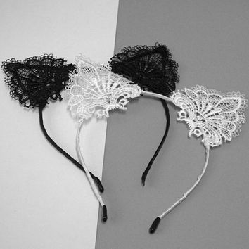 2017New Fashion Funny Women Cute Cat Kitty Costume Ear Party Lace Hairbands Headbands Lady Kids Hair Head Band Accessories