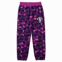 AAPE trend embroidery small logo camouflage men straight loose pants pants casual pants Purple