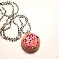 Pink Frosted Sugar Cookie Necklace, Polymer Clay Food Jewelry