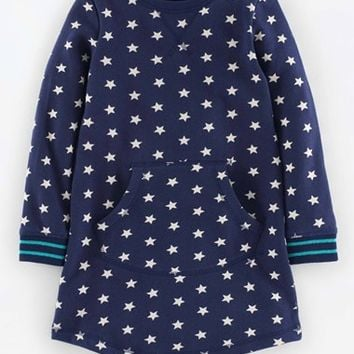 Girl's Mini Boden Star Print Sweatshirt Dress,