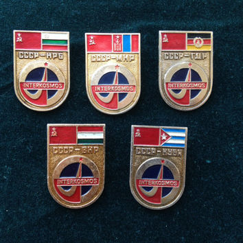 Set of 5 Soviet vintage interkosmos communist pin ussr collectibles collector