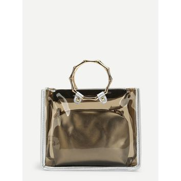 Double Handle Clear Bag With Inner Clutch