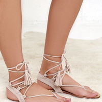 Sun Kiss Nude Suede Lace-Up Flat Sandals