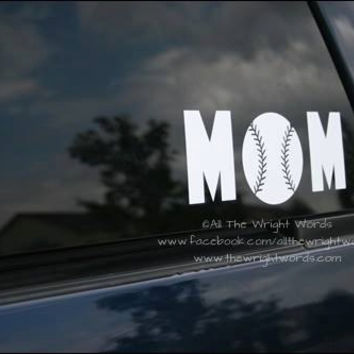 "7.65x3"" Baseball Mom Sport Vinyl Decal"