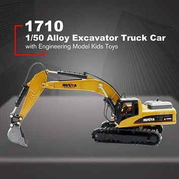 HUINA TOYS NO.1710 1/50 Alloy Excavator Truck Car Die-Cast Metal Professional Engineering