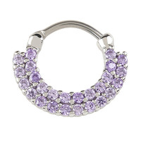 Steel Double Row Purple CZ Septum Ring