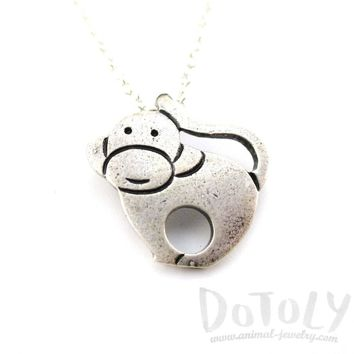 Animal Themed Simple Monkey Pendant Necklace in Silver | DOTOLY