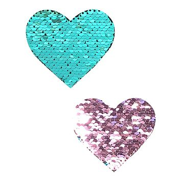 Purple/Turquoise Reversible Sequin Heart Pasties