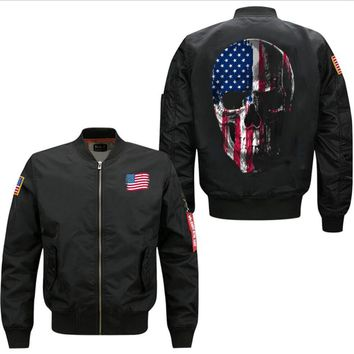 Skull US Flag flight jacket army green jackets for men autumn clothes  USA size