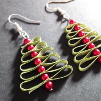 Christmas Trees- Holiday Fashion Accessory- Green Ribbon- Red Pearls- Dangle Earrings- Stocking Stuffer Filler- Gift Idea- Woman- Teen Girls