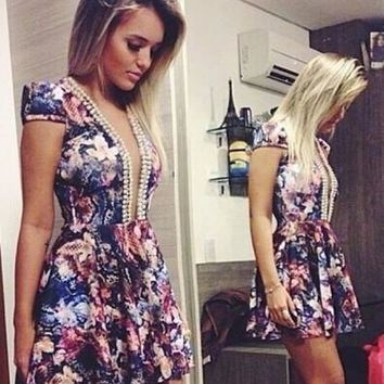 HOT FASHION FLOWERS DESIGN V PEARL COLLAR OF TALL WAIST CULTIVATE ONE'S MORALITY DRESS