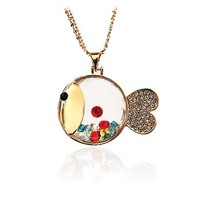 colorful rhinestone lovely bear/fish necklace